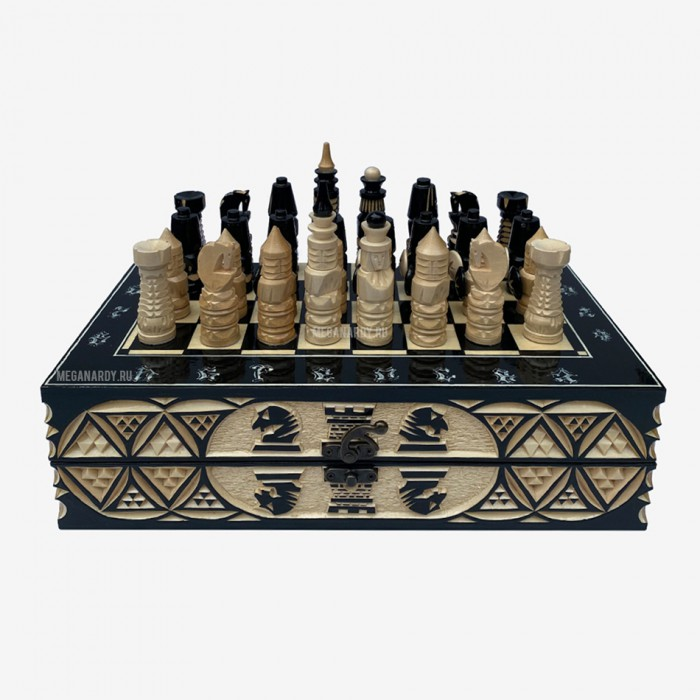 Chess carved from oak